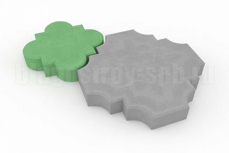 гжелка серая с зеленой